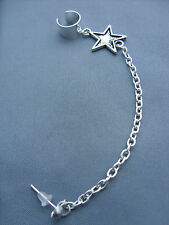 Silver Tone with Small Star Charm Chain Ear Cuff Clip Stud Wrap Earring