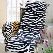 Animal Zebra - White Coral Fleece Throw Blanket 59x 79 inch