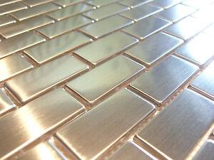 Edelstahlmosaik Mosaik Metall effekt Fliese silber gebürstet matt glänzend