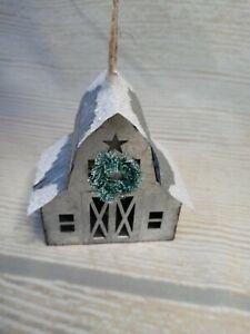 New! Old Barn Snow Metal Christmas Ornament Decor Farmhouse Country Rustic Farm
