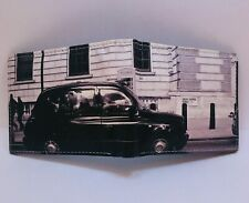 Mens Bi-Fold Wallet Vintage Car Imprint with  gift box 2 ID Windows