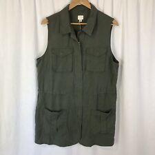 A New Day Women's Military Vest green XL Sleeveless Jacket Cinch Waist NWT
