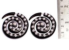 A Pair of Black & Silver Organic Faux Plugs Ebony Wood Gorgeous Earrings SEW_997