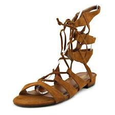 Sandalias y chanclas de mujer de tacón medio (2,5-7,5 cm) de color principal marrón de lona