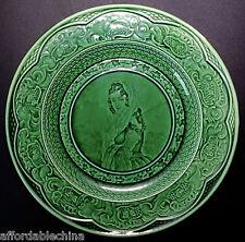 Antique Wedgwood Green Majolica RARE Portrait Lady Plate