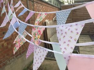 .CLEARANCE  FABRIC BUNTING.SHABBY CHIC.WEDDINGS,VINTAGE FLORALS.WHITE.RAINBOW.