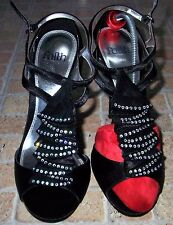 FAITH Black Satin Pleat Gem Open Toe Strappy Very High Heel  Party Shoes Size 7