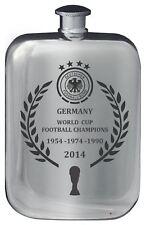 Germany World Cup Winning Football Pocket Hip Flask 6oz Pewter Polished Finish