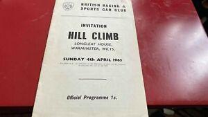 LONGLEAT HOUSE---INVITATION HILL CLIMB---PROGRAMME---4TH APRIL 1965