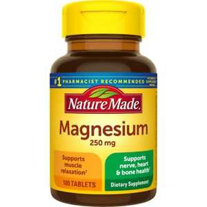 Nature Made Magnesium 250 mg 100 Tabs.