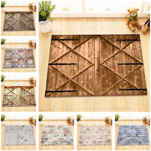 Rustic Wood Barn Door Floor Retro Flowers Kitchen Bathroom Bath Door Mat Bathmat