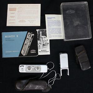 Original Vintage Minox B Spy Camera w/Flash Attachment/Paperwork/Case Miniature