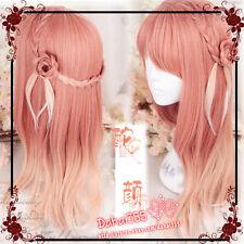 Japanese Lolita Dreamlke Harajuku Pink Yellow White Gradient Fairy Princess Wig#