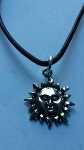 SUN CHARM  ON BLACK LEATHER CORD SLIDING KNOT ADJUSTABLE CHOKER NECKLACE