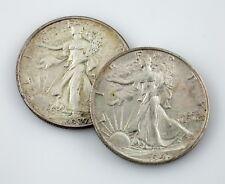 Lot of 2 1937 + 1941-S 50C Walking Liberty Half Dollars AU Condition