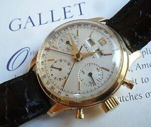 SOLID 14k Vintage 1960's Gallet 3 Register Triple Date Swiss Chronograph Watch