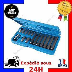 Coffret de 15 Embouts Torx Longs et Courts T20 T25 T30 T40 T45 T50 T55 Douille