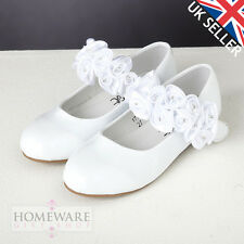Zapatos de chicas Dama de honor, Primera Comunión, Bodas De Novia Blanco Patente Zapatos