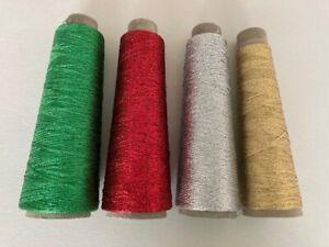 "Kreinik Metallic 1/16"" ribbon -Lot of 4 cones- 1000m ea - Red/Grn/Silver/Gold"