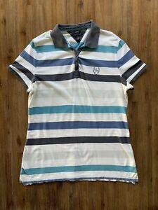 TOMMY HILFIGER Size XL Blue Striped Slim Fit Polo Shirt Women's OCT167