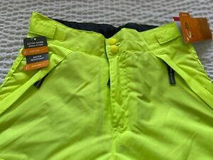 Boy's Champion Venture Dry Snow Pants Neon Yellow Insulated Pant Size M 8-10 NWT