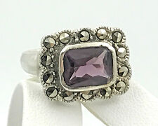 Vintage .925 Sterling Silver, Cubic Zirconia & Marcasite Trim Ring, Size 6.5