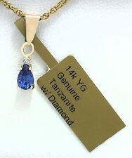 GENUINE 0.67 Cts TANZANITE & DIAMOND PENDANT 14k Gold *Free Shipping *Brand new*