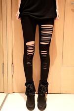 NUOVA linea donna neri gotico strappati ripped tagli pantacollant Rocker Punk Taglia 14 & 16