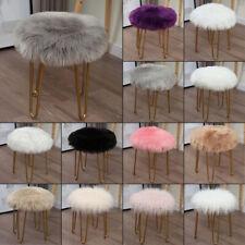 Faux Fluffy Sheepskin Wool Seat Pad Retro Round Long Fur Cushion Sofa Chair Mat