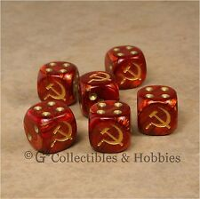 NEW 6 Soviet Russia Hammer & Sickle Dice Set 16mm RPG War Game D6 WWII Communist