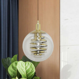 Nordic Clear Glass Ball Pendant Lamp Pendant Light with Coiled Guard