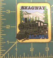 Skagway Alaska with Railroad Engine Embroidered Patch - Ships Worldwide
