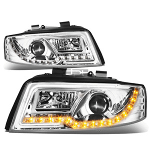 [LED DRL+Turn Signal] Fit 2002-2005 Audi A4 Chrome Housing Projector Headlight