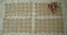 4 Rectangle Pretty Lacy Lot Vintage Crochet Lace Beige Doilies