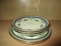 Minton Grasmere Blue China 3 Saucers 2 Bread & Butter Plates