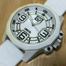 Marc Ecko UNLTD Men White Large Face Plastic Analog Quartz Watch Hour~New Batter