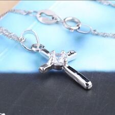 Silver tone cross with crystal pendant necklace