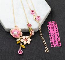New Fashion Betsey Johnson Rare Alloy Rhinestone Enamel Flower Necklaces Pendant