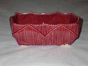 Vintage MCCOY USA Pottery Rectangle Diamond Pattern Planter Burgundy