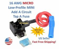 1x Car Auto Truck Add-A-Circuit Micro Low-Profile Mini Fuse Tap Holder Blade 15A