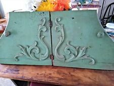 """PAIR SMALL VINTAGE GREEN WOOD DOORS ORNATE DETAIL 14 3/4"""" HIGH**FREE SHIPPING**"""