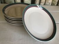 "6 Juniper by PFALTZGRAFF Stoneware Green Mauve Bands Trim 6-3/4"" Salad Plate Set"