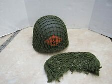 US WW2 REPLICA M1 STEEL POT HELMET NET OD GREEN