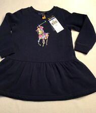 Polo Ralph Lauren Girl's 2 2T Fleece Dress Big Pony Navy Long Sleeve