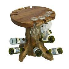 Teak Root Driftwood Wooden Wine Tasting Table Holds 9 bottles, 8 Wine Glasses