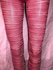 RED OPAQUE TIGHTS WITH WHITE & BLACK STRIPE PATTERN - GORGEOUS! PRETTY POLLY BN