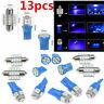 13Pcs Blue LED Bulbs Car Interior T10 & 31mm Map Dome License Plate Lamp Kit