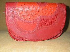 Red Stegio For Trotting Geniune Leather Ostrich Shouler Bag
