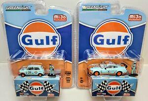 GreenLight 2021 Ford Mustang Mach 1 & 1967 Austin Mini Cooper S Gulf Racing Set