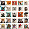Vintage Dog Pattern Linen Cushion Cover Waist Throw Pillow Case Home Sofa Decor